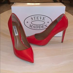 Steve Madden Red Authentic Leather Pumps/Heels!